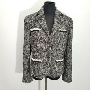 Talbots Tweed Jacket Lined Silver Tone Button